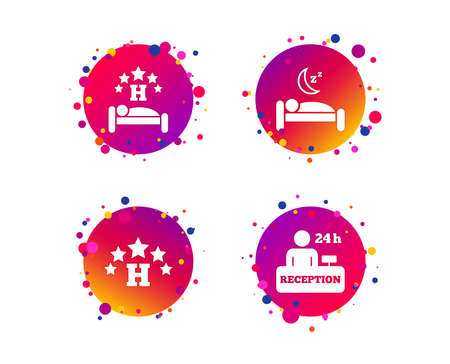 Five stars hotel icons. Travel rest place symbols. Human sleep in bed sign. Hotel 24 hours registration or reception. Gradient circle buttons with icons. Random dots design. Vector