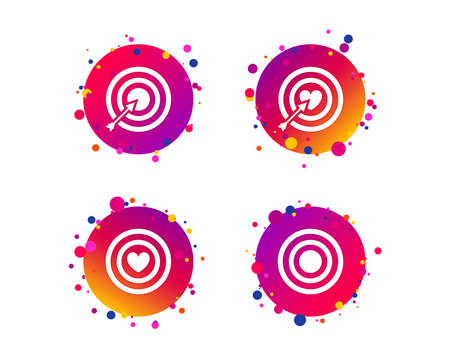 Target aim icons. Darts board with heart and arrow signs symbols. Gradient circle buttons with icons. Random dots design. Vector