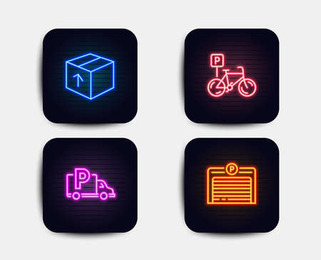Neon glow lights. Set of Package, Bicycle parking and Truck parking icons. Delivery pack, Bike park, Free park. Automatic door.  Neon icons. Glowing light banners. Vector Banque d'images - 112873271