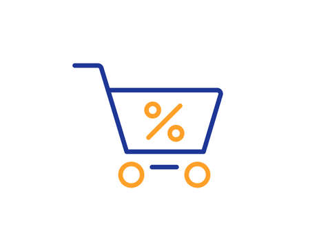Shopping cart with Percentage line icon. Online buying sign. Supermarket basket symbol. Colorful outline concept. Blue and orange thin line color icon. Special offer Vector