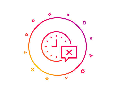 Time line icon. Remove alarm sign. Gradient pattern line button. Time icon design. Geometric shapes. Vector Иллюстрация