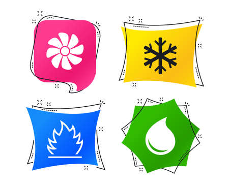 HVAC icons. Heating, ventilating and air conditioning symbols. Water supply. Climate control technology signs. Geometric colorful tags. Banners with flat icons. Trendy design. Vector Vetores