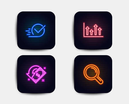 Neon glow lights. Set of Upper arrows, Cashback and Checkbox icons. Research sign. Growth infochart, Receive money, Approved. Magnifying glass.  Neon icons. Glowing light banners. Vector