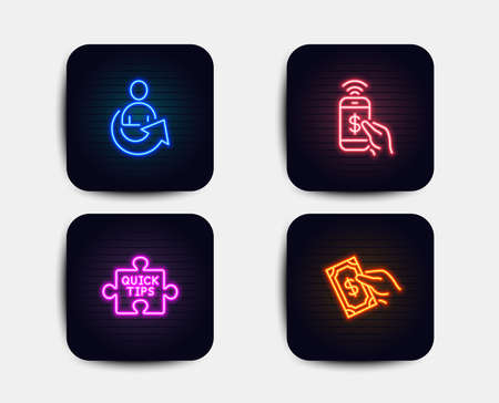 Neon set of Share, Phone payment and Quick tips icons. Pay money sign. Referral person, Mobile pay, Tutorials. Hold cash. Neon icons. Glowing light banners. Vector