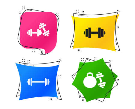 Dumbbells sign icons. Fitness sport symbols. Gym workout equipment. Geometric colorful tags. Banners with flat icons. Trendy design. Vector Illustration