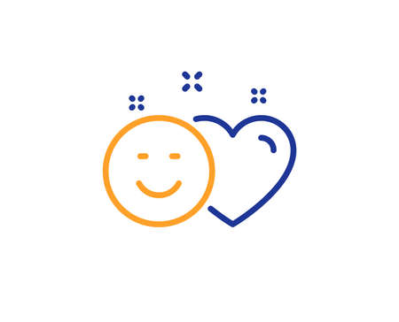 Social media like line icon. Heart, smile sign. Positive feedback symbol. Colorful outline concept. Blue and orange thin line color Smile icon. Vector Ilustrace