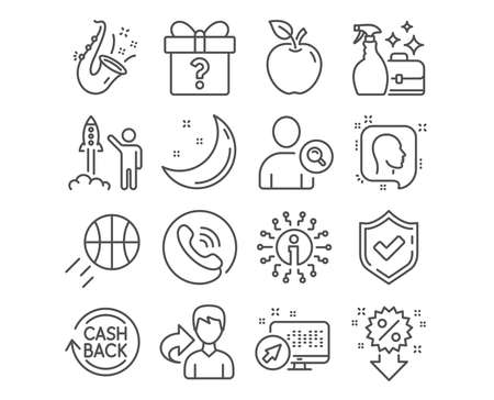 Set of Head, Launch project and Cleanser spray icons. Find user, Discount and Secret gift signs. Cashback, Jazz and Basketball symbols. Profile messages, Business innovation, Washing liquid. Vector