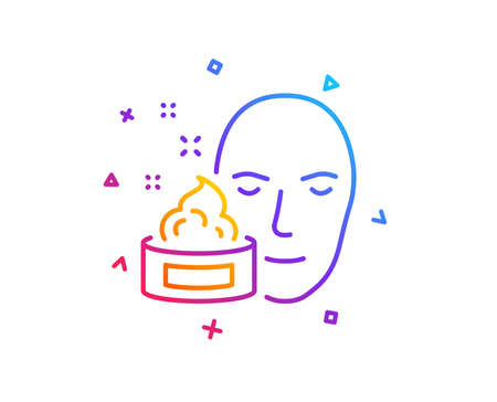 Face cream line icon. Skin care lotion sign. Cosmetics symbol. Gradient line button. Face cream icon design. Colorful geometric shapes. Vector