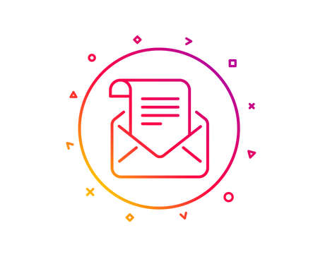 Mail newsletter line icon. Read Message correspondence sign. E-mail symbol. Gradient pattern line button. Mail newsletter icon design. Geometric shapes. Vector Illustration