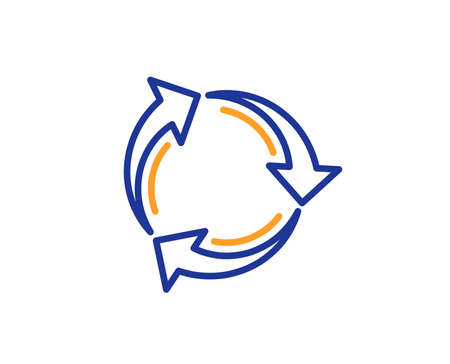 Recycle arrow line icon. Recycling waste symbol. Reduce and Reuse sign. Colorful outline concept. Blue and orange thin line color icon. Recycle Vector Imagens - 112888561