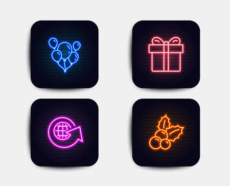 Neon set of Gift box, Balloons and World globe icons. Christmas holly sign. Present package, Air balloons, Around the world. Ilex aquifolium. Neon icons. Glowing light banners. Vector