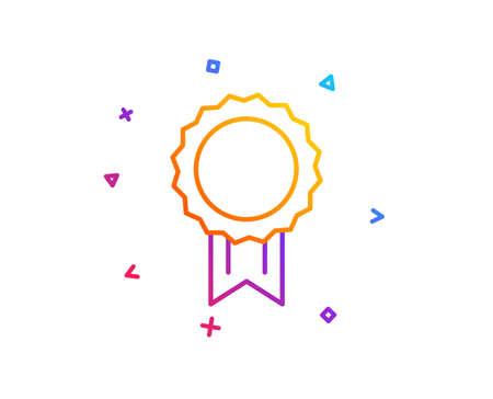 Award Medal line icon. Winner achievement symbol. Glory or Honor sign. Gradient line button. Reward icon design. Colorful geometric shapes. Vector