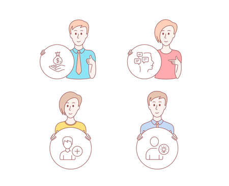 People hand drawn style. Set of Income money, Add person and Messages icons. User idea sign. Savings, Edit user data, Notifications. Light bulb.  Character hold circle button. Man with like hand Stock Photo