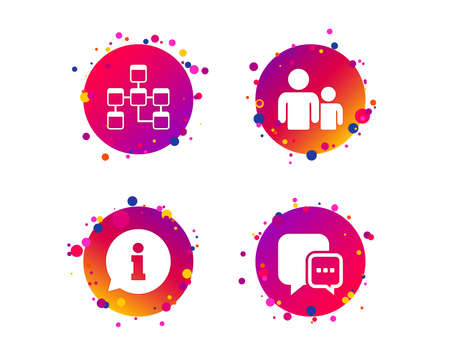 Information sign. Group of people and database symbols. Chat speech bubbles sign. Communication icons. Gradient circle buttons with icons. Random dots design. Vector