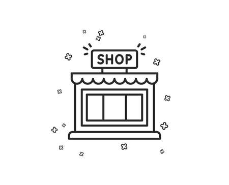 Shop line icon. Store symbol. Shopping building sign. Geometric shapes. Random cross elements. Linear Shop icon design. Vector Stockfoto - 113234167
