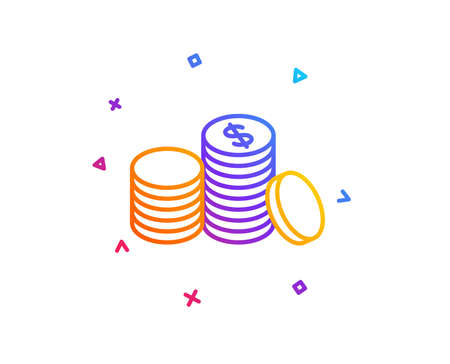Coins money line icon. Banking currency sign. Cash symbol. Gradient line button. Banking money icon design. Colorful geometric shapes. Vector Stock Photo