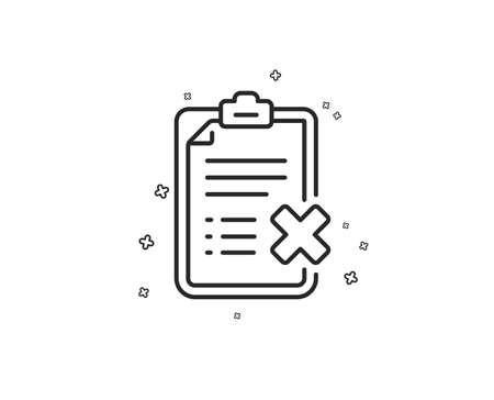 Reject checklist line icon. Decline document sign. Delete file. Geometric shapes. Random cross elements. Linear Reject checklist icon design. Vector