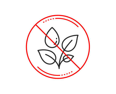 No or stop sign. Plants watering line icon. Leaves dew sign. Environmental care symbol. Caution prohibited ban stop symbol. No  icon design.  Vector Stock Photo