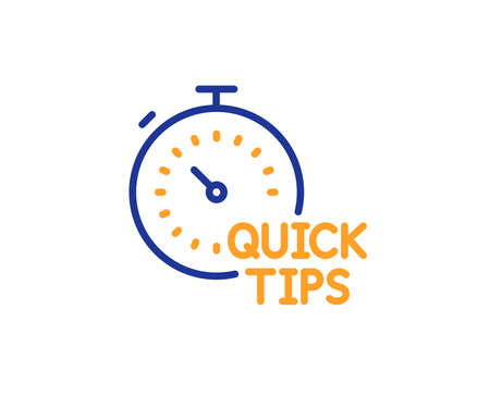 Quick tips line icon. Helpful tricks sign. Tutorials with timer symbol. Colorful outline concept. Blue and orange thin line color icon. Quick tips Vector