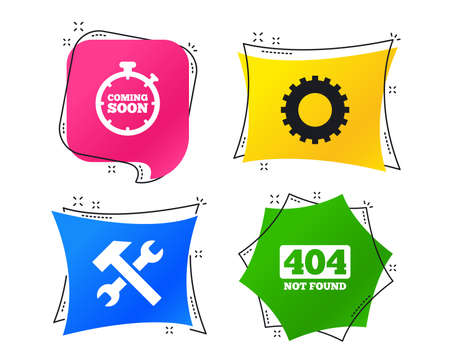 Coming soon icon. Repair service tool and gear symbols. Hammer with wrench signs. 404 Not found. Geometric colorful tags. Banners with flat icons. Trendy design. Vector Stock Photo