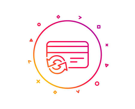 Change credit card line icon. Payment method sign. Gradient pattern line button. Change card icon design. Geometric shapes. Vector
