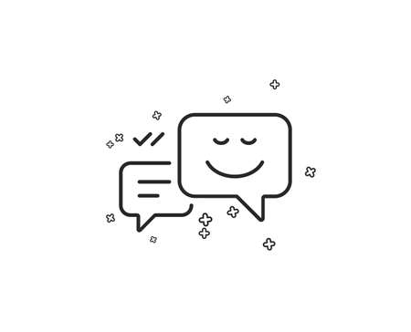 Message speech bubbles with Smile line icon. Chat emotion sign. Geometric shapes. Random cross elements. Linear Happy emotion icon design. Vector