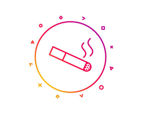 Smoking area line icon. Cigarette sign. Smokers zone symbol. Gradient pattern line button. Smoking icon design. Geometric shapes. Vector