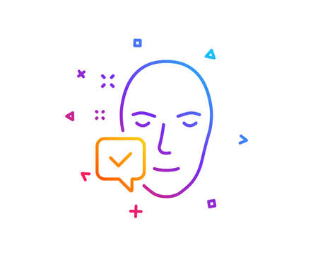 Face accepted line icon. Access granted sign. Facial identification success symbol. Gradient line button. Face accepted icon design. Colorful geometric shapes. Vector Reklamní fotografie - 113234216