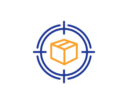 Parcel tracking line icon. Delivery monitoring sign. Shipping box in target symbol. Colorful outline concept. Blue and orange thin line color icon. Parcel tracking Vector Banco de Imagens