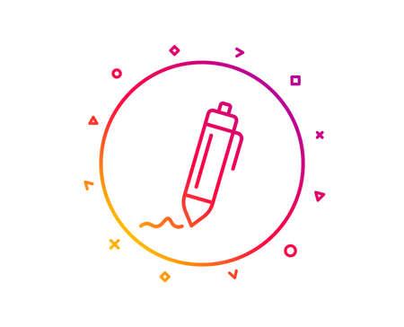 Signature line icon. Written pen sign. Education symbol. Gradient pattern line button. Signature icon design. Geometric shapes. Vector Banco de Imagens
