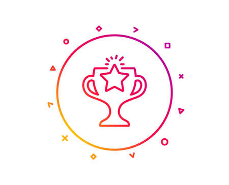 Winner cup line icon. Sport Trophy with Star symbol. Victory achievement or Championship prize sign. Gradient pattern line button. Victory icon design. Geometric shapes. Vector
