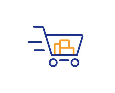 Delivery Service line icon. Shopping cart sign. Express Online buying. Supermarket basket symbol. Colorful outline concept. Blue and orange thin line color icon. Shopping cart Vector
