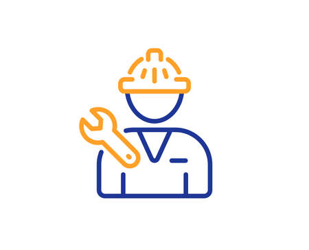Spanner tool line icon. Repairman service sign. Fix instruments symbol. Colorful outline concept. Blue and orange thin line color Repairman icon. Vector