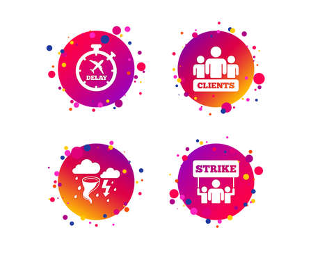 Strike icon. Storm bad weather and group of people signs. Delayed flight symbol. Gradient circle buttons with icons. Random dots design. Vector Stock Photo