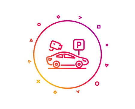 Parking with video monitoring line icon. Car park sign. Transport place symbol. Gradient pattern line button. Parking security icon design. Geometric shapes. Vector 版權商用圖片