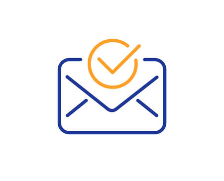 Approved mail line icon. Accepted or confirmed sign. Document symbol. Colorful outline concept. Blue and orange thin line color icon. Approved mail Vector