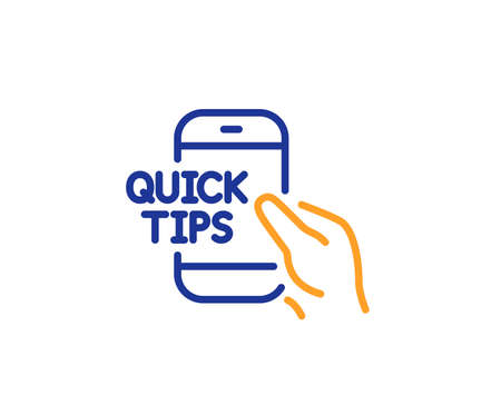 Quick tips on phone line icon. Helpful tricks sign. Internet tutorials symbol. Colorful outline concept. Blue and orange thin line color icon. Education Vector
