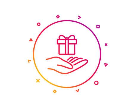 Loyalty program line icon. Gift box sign. Present symbol. Gradient pattern line button. Loyalty program icon design. Geometric shapes. Vector