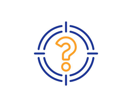 Target with Question mark line icon. Aim symbol. Help or FAQ sign. Colorful outline concept. Blue and orange thin line color icon. Headhunter Vector