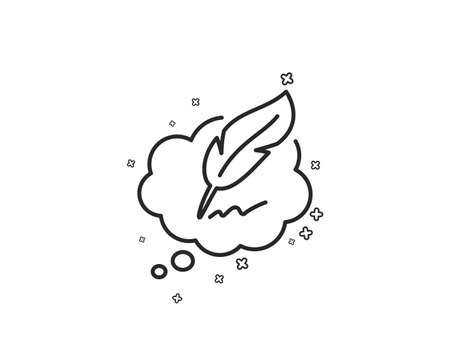 Copywriting speech bubble line icon. Feather sign. Copyright symbol. Geometric shapes. Random cross elements. Linear Copyright chat icon design. Vector 版權商用圖片