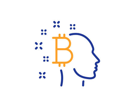 Bitcoin think line icon. Cryptocurrency head sign. Crypto money symbol. Colorful outline concept. Blue and orange thin line color Bitcoin think icon. Vector Zdjęcie Seryjne