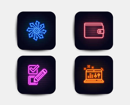 Neon set of Checkbox, Versatile and Money wallet icons. Sound check sign. Survey choice, Multifunction, Payment method. Dj controller. Neon icons. Glowing light banners. Vector