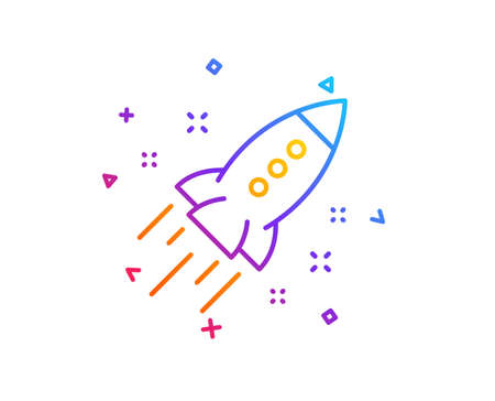 Startup rocket line icon. Launch Project sign. Innovation symbol. Gradient line button. Startup rocket icon design. Colorful geometric shapes. Vector 写真素材