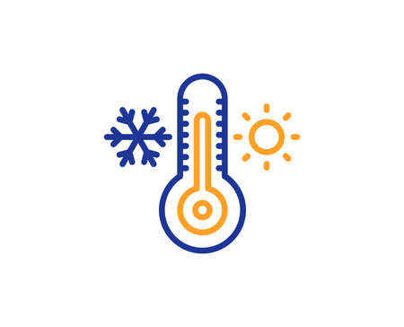 Thermometer line icon. Cold and warm thermostat sign. Winter, summer symbol. Snowflake and sun. Colorful outline concept. Blue and orange thin line color Thermometer icon. Vector