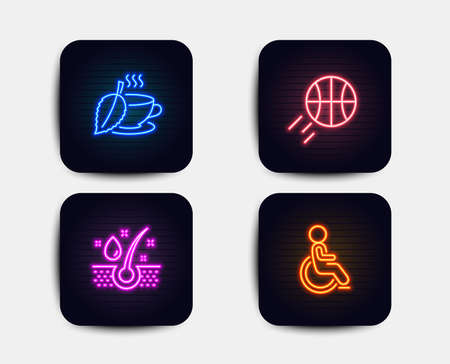 Neon glow lights. Set of Basketball, Serum oil and Mint tea icons. Disabled sign. Sport ball, Healthy hairs, Mentha beverage. Handicapped wheelchair.  Neon icons. Glowing light banners. Vector