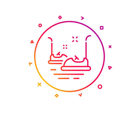 Bumper cars line icon. Amusement park sign. Gradient pattern line button. Bumper cars icon design. Geometric shapes. Vector