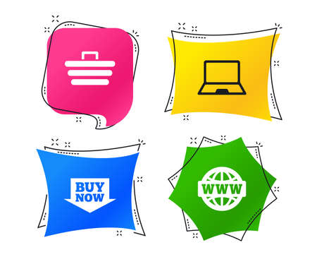 Online shopping icons. Notebook pc, shopping cart, buy now arrow and internet signs. WWW globe symbol. Geometric colorful tags. Banners with flat icons. Trendy design. Vector Stock Photo