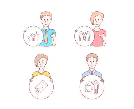 People hand drawn style. Set of E-mail, Demand curve and Partnership icons. Strategy sign. Mail delivery, Statistical report, Business startup. Business plan.  Character hold circle button. Vector