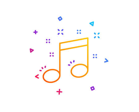 Musical note line icon. Music sign. Gradient line button. Musical note icon design. Colorful geometric shapes. Vector 写真素材