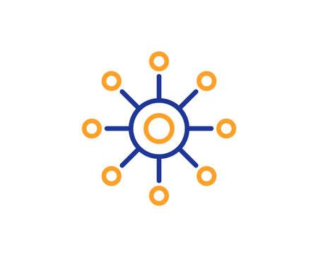 Multichannel line icon. Multitasking sign. Omnichannel symbol. Colorful outline concept. Blue and orange thin line color icon. Multichannel Vector